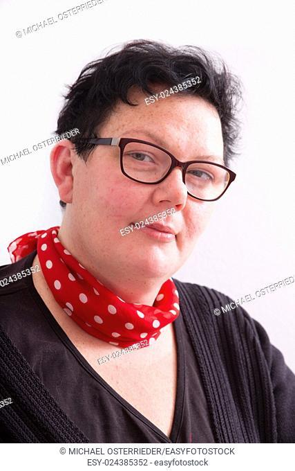 Portrait of an overweight mature woman.