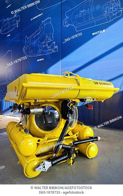 France, Normandy Region, Manche Department, Cherbourg-Octeville, Cite de la Mer museum, submarine exhibit, Le Globule, French research submarine