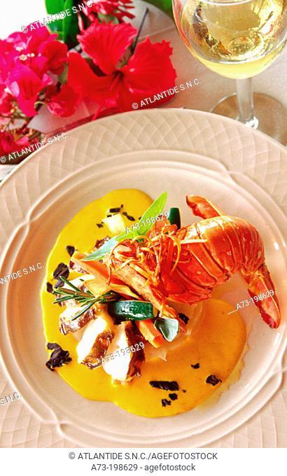 Pan fried baby lobster with cassava. British Virgin Islands