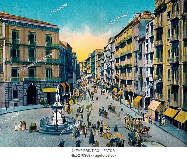 'Napoli - Via Roma, Largo Carita Con Monumento A Carlo Poerio', c1900. Creator: Unknown