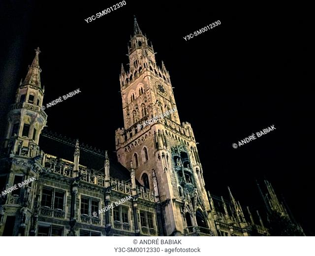 Historical Rathaus building in Munich, Bavaria, Germany, at night