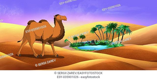 Bactrian Camel in Desert Oasis. Digital painting full color illustration