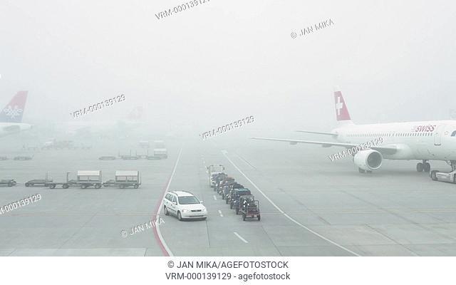 Zurich, Switzerland - 9 October 2014: Swiss aircraft at international airport in Zurich