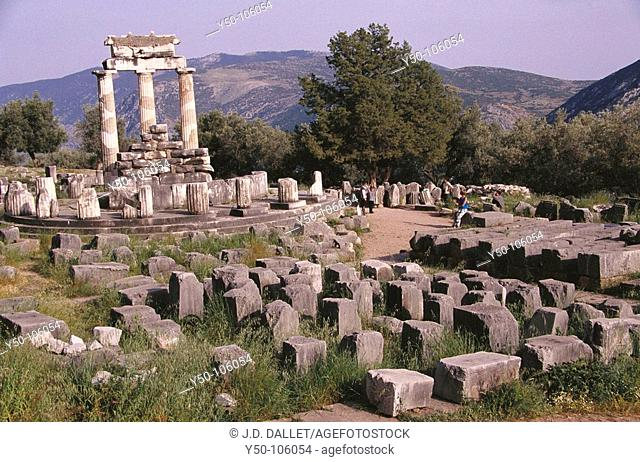 Tholos temple at the sanctuary of Athena Pronaia (4th century B.C.), Mount Parnassus, Delphi. Greece