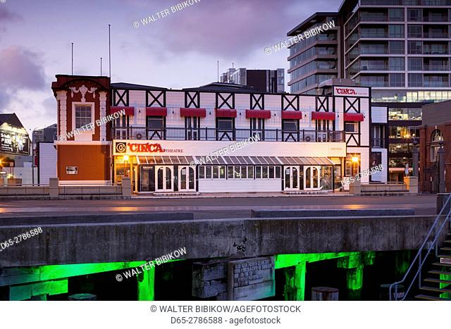 New Zealand, North Island, Wellington, harborfront, Circa Theater, dawn