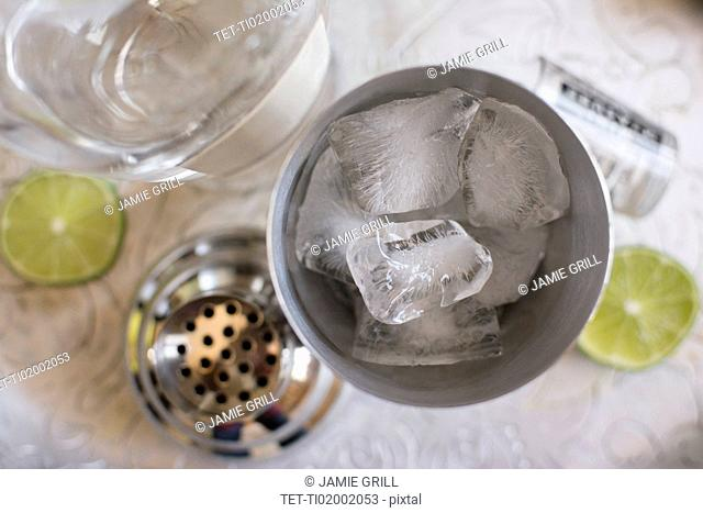 Ice cubes in shaker