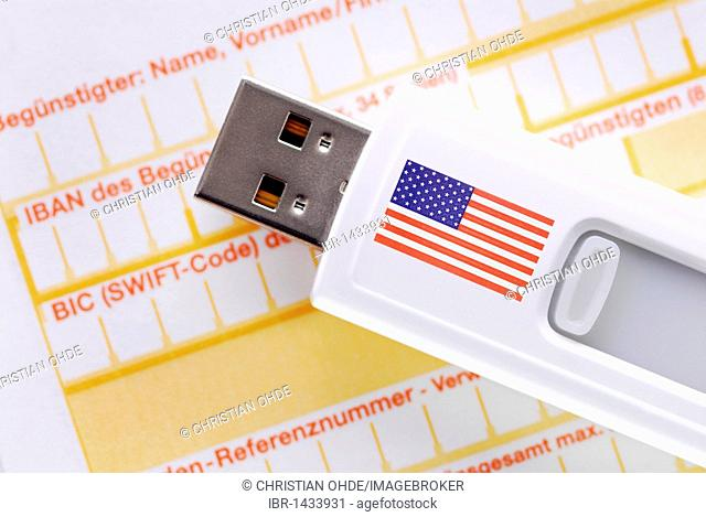 Memory stick with USA flag on money transfer form, Swift Agreement