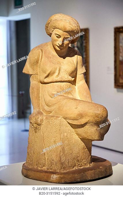 """""""""""""""Catalan Woman Seated"""""""",1923, Manolo Hugué, National Museum of Catalan Art, Museu Nacional d Art de Catalunya, MNAC, Barcelona, Spain, Europe"""