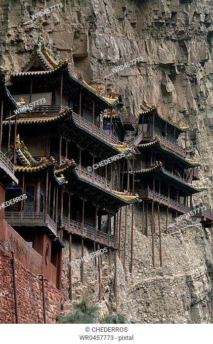 Low angle view of pagodas on a hill, China