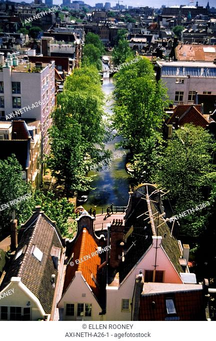 Canal and rooftops of Amsterdam, elevated view