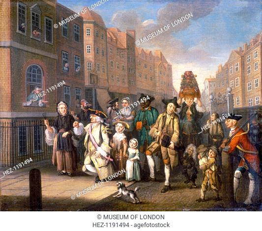 'May Morning', c1760. A satirical depiction of the May Day procession with the 'Lord and Lady of May' on the left. The 'lady' is possibly a man
