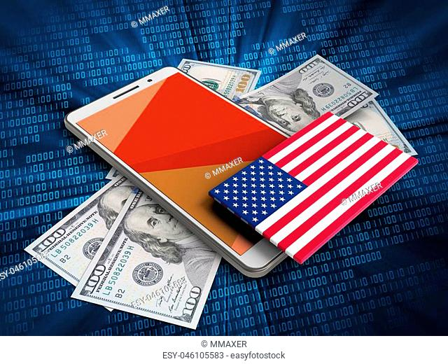 3d illustration of white phone over digital background with banknotes and USA flag