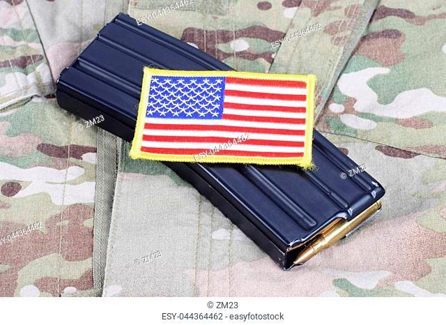M-16 magazine with ammo on US Army uniform