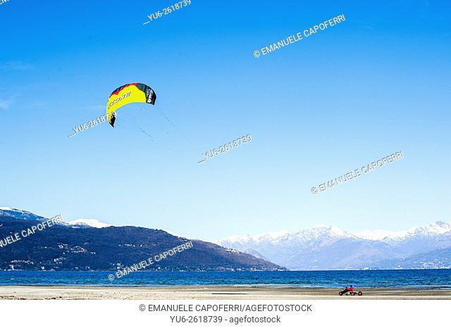 Kyte buggy on the beach of Lake Maggiore, Ispra, Italy