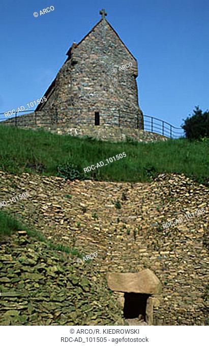 Neolithic burial mound La Hougue Bie Jersey Channel Islands Great Britain