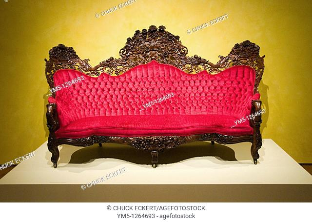 Ornate Victorian Parlor Couch on display at the MIlwaukee Art Museum in Milwaukee, Wisconsin, USA