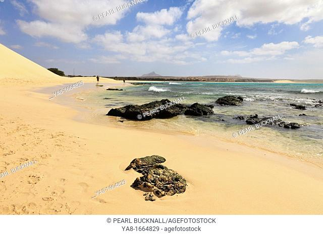 Praia de Chaves, Rabil, Boa Vista, Cape Verde Islands, Africa  View along seashore of quiet white sand beach