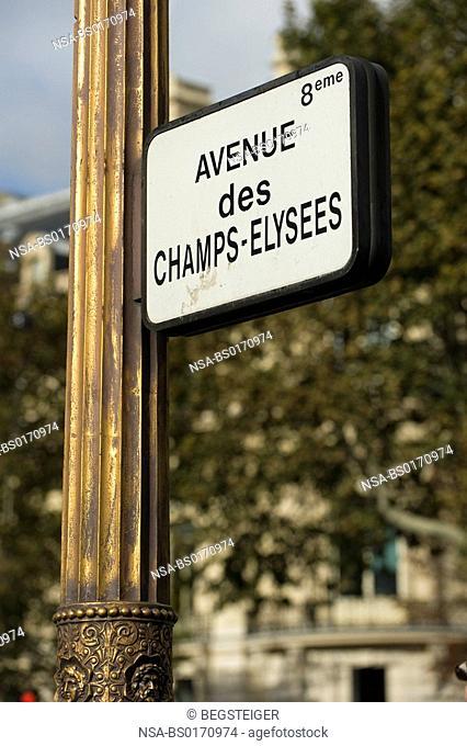 street shield Champs Elysees, Paris