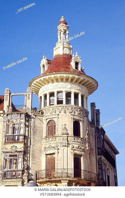 Facade of modernist building. Ribadeo, Lugo province, Galicia, Spain