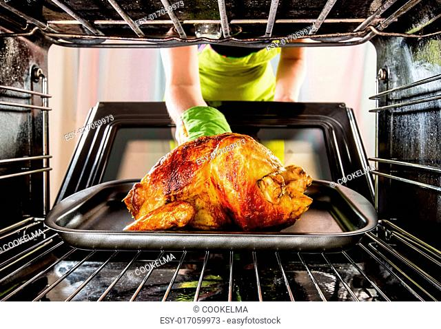 Housewife prepares roast chicken in the oven, view from the inside of the oven. Cooking in the oven