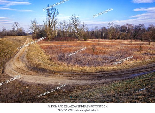 View from earth bank of Vistula River near Nowy Dwor Mazowiecki town in Masovian Voivodeship of Poland