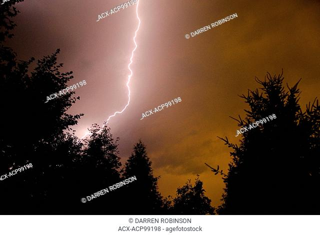 Lightning strikes over Enderby, in the Shuswap region of British Columbia, Canada