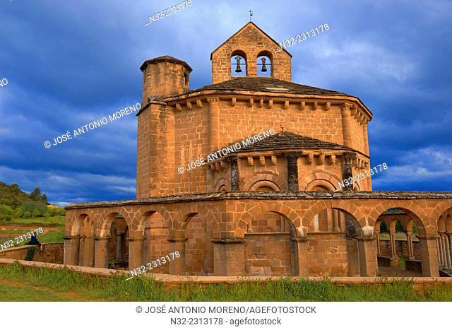 Santa María de Eunate, Romanesque church. Eunate Church, Road to Santiago. Way of St. James, Muruzábal, Navarre. Spain