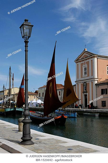 Museum ships in the canal port that was devised by Leonardo da Vinci, Cesenatico, Forlì-Cesena province, Emilia-Romagna, Italy, Europe