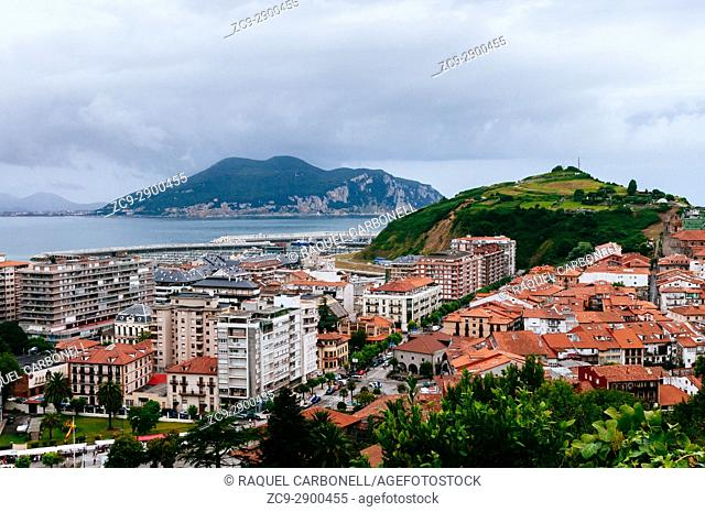 Elevated view of beach town, Laredo, Cantabria, Spain