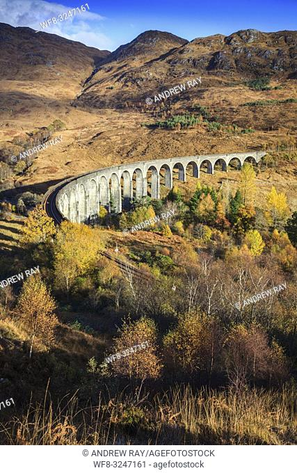 The Glenfinnan Viaduct in the Scottish Highlands captured from a high vantage point on an afternoon in early November