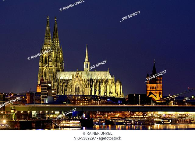 DEU , GERMANY : Cologne at Rhine river with Cathedral and Great St.Martin church , 31.12.2015 - Cologne, Northrhine-Westfalia, Germany, 31/12/2015