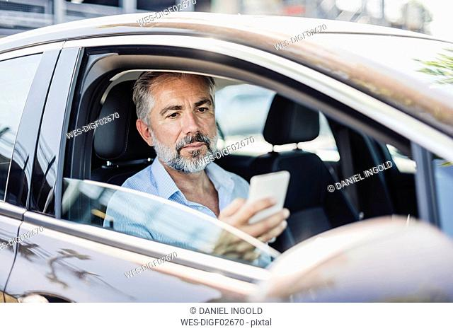 Businessman looking at cell phone in car