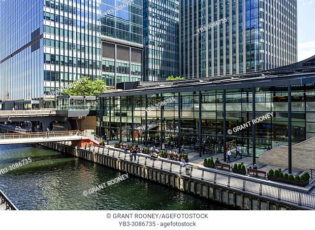 Outdoor Seating Area and Cafes, Canary Wharf, London, United Kingdom