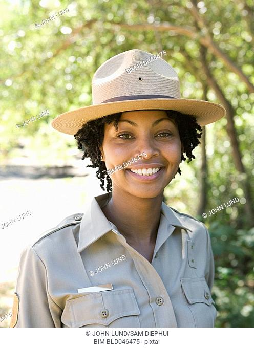 Close up of African American female Park Ranger
