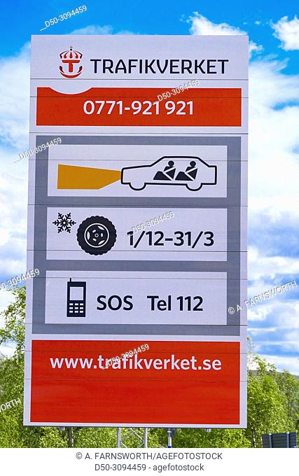 A sign by the traffic authority in Sweden Trafikverket upon entering Sweden in Karesuando. Sweden's northernmost town on the border with Finland