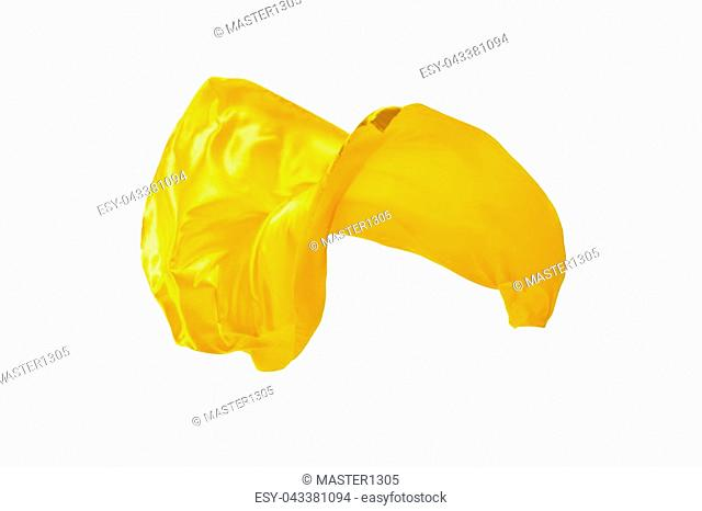 Smooth elegant transparent yellow cloth isolated or separated on white studio background. Texture of flying fabric