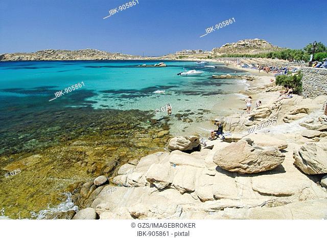 Paradise Beach, Mykonos, Cyclades, Greece, Europe
