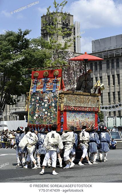 Gion Matsuri Floats are wheeled through the city in japans most famous festival, Kyoto, Japan, Asia