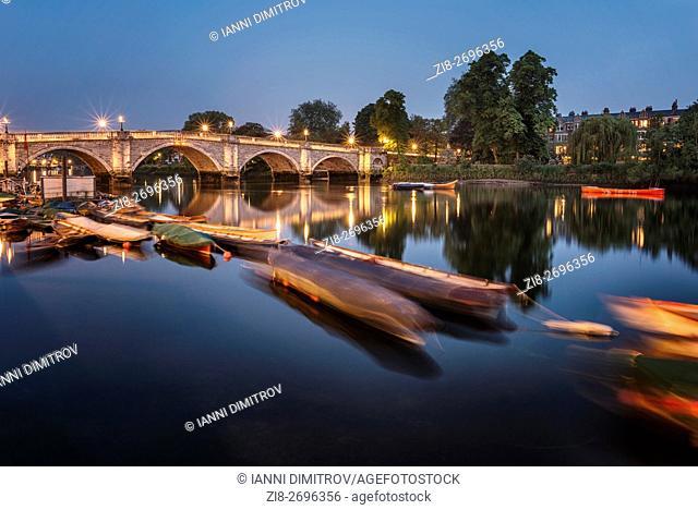 Richmond Bridge at night,Richmond Upon Thames,Surrey,England