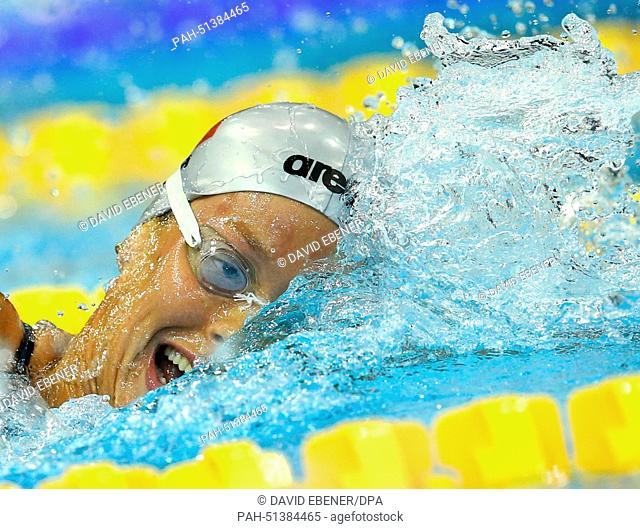 Federica Pellegrini of Italy competes in the women's 400m Freestyle Final at the 32nd LEN European Swimming Championships 2014 at the Velodrom in Berlin
