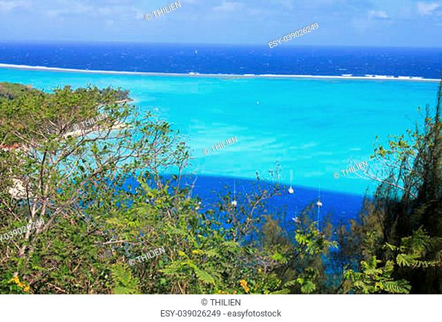 View from Bora Bora on the lagoon and the barrier reef
