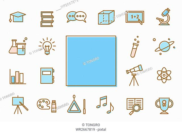 Various line icons related to education