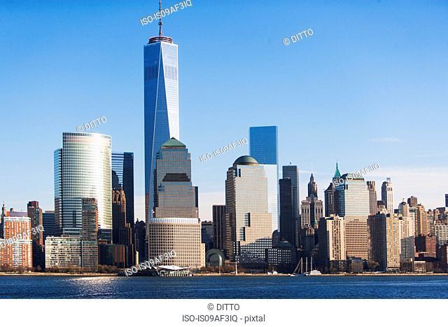 Manhattan cityscape and river, New York, USA