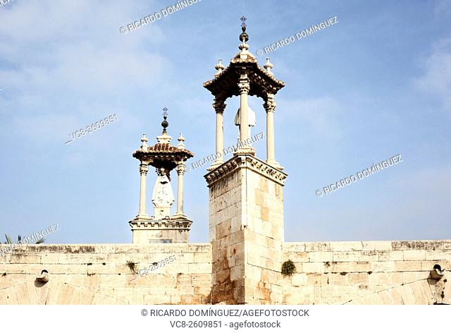 Saints tribute at Pont de la Mar. Valencia, Spain