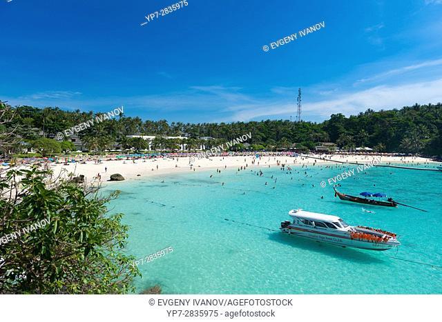 Panorama of the Patok bay from Raya resort viewpoint, Raya island, Thailand