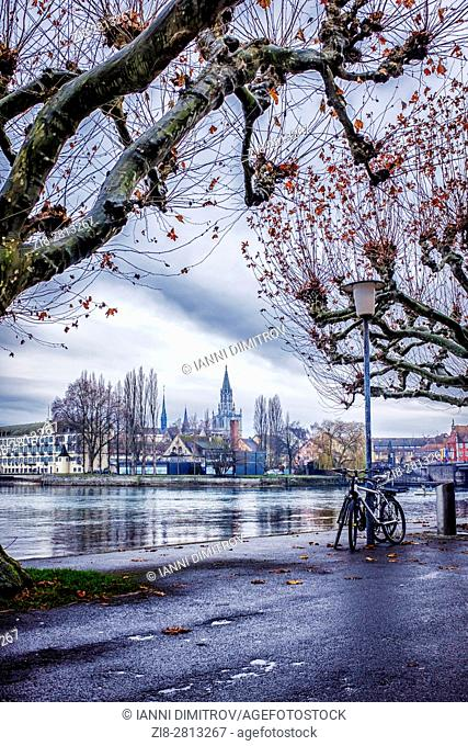 Baden-Wurttemberg, Germany, Konstanz Cathedral (Konstanz Minster) and the old town seen from Seestrasse on the North