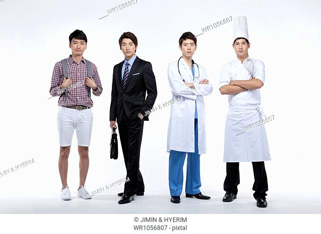 four men in different profession standing in a line