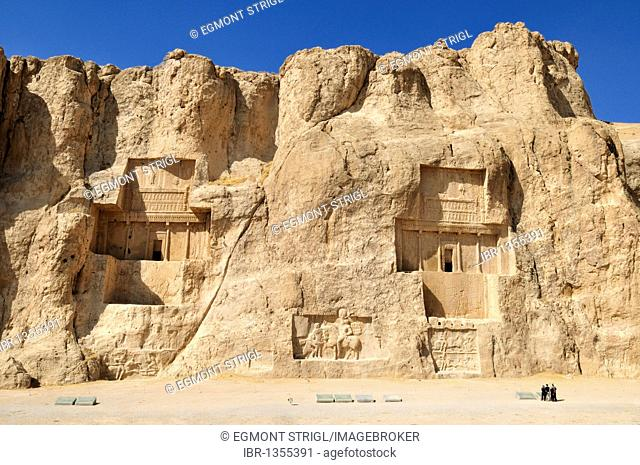 Tomb of King Artaxerxes I. and Darius I. at the Achaemenid burial site Naqsh-e Rostam, Rustam, near the archeological site of Persepolis