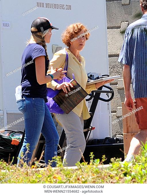 Actress Katie Holmes filming \Woman In Gold\ in Encino Ca. with co star Ryan Reynolds. Featuring: Helen Mirren Where: Encino, California