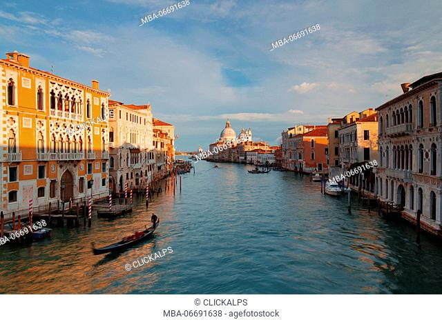 Europe, Italy, Veneto, Venice Gondola in the Grand Canal at sunset